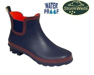 Ladies Ankle Wellies Rubber Navy/Red Stormwells Short Welly Wellingtons Size 8