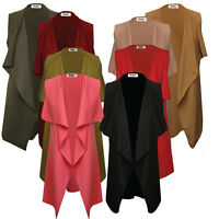 Womens Ladies Open Front Sleeveless Waterfall Duster Coat/ Jacket