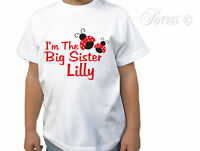 PERSONALISED BIG SISTER LADY BUGS GIRLS CHILDRENS KIDS DESIGNER T-SHIRT TSHIRT