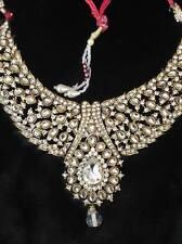 Exquisite jewelry! Golden bead/kundan necklace, headpiece(tikka) and earrings