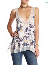 NWT FREE PEOPLE Bell Flower Double-V Tunic Top in Ivory Combo Sz S