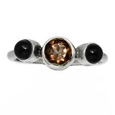 Smoky Topaz - Brazil & Black Onyx 925 Silver Ring Jewelry s.7 AR145556 114D