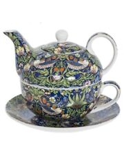 Tea Set For One Tea Pot & Cup Saucer Gift Box Blue Strawberry Thief by Leonardo