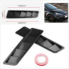 """Durable 2X 16.7x4.5"""" Matte Carbon Fiber Pattern Car Hood Vents Louver Panel Trim"""