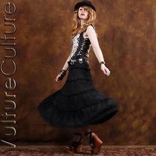 SALE Vintage 90s Gypsy Goth Skirt Black Crochet Festival Burnout Hippie Maxi OS