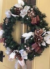 Noël Porte Couronne de Luxe Qualité Cônes baies coeurs rouge 45 cm