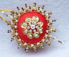 Vintage Bejeweled Burnt Orange Satin Beaded Sequin Christmas Ornament B4