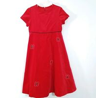 Florence Eiseman Girls Red Velvet Dress Short Sleeve Empire Waist