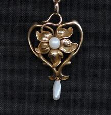 Antique Art Nouveau 14k  Lavaliere ~ Beautiful Yellow Gold