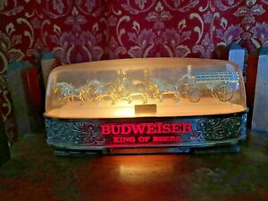 Vintage BUDWEISER BEER Clydesdale Horses Wagon Lighted Sign w/ dome top #004-124