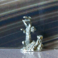 Rare Vintage Pewter Miniature Fantasy Dragon Mythical Reptile Baby Cute Mouth