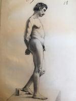 Grand et très beau Dessin mine de plomb 1850 nu  académique masculin homme