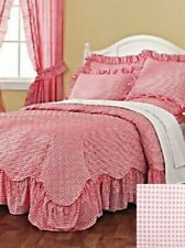 Country Chic Gingham Check Quilted Scallop Ruffled Bedspread Bed Cover - No Sham