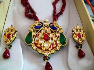 22karat YELLOW GOLD JADAU DIAMOND POLKI FABULOUS VINTAGE NECKLACE PENDANT WOMENS