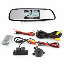Car 4.3 Inch Color Mirror Monitor + 120° Wide Angle Parking Radar Sensor Camera