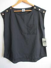 JONATHAN MARTIN Womens Shell Blouse M Sleeveless Black Top Button Chest Pocket
