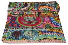 Indian Handmade Quilt Vintage Kantha Bedspread Throw Cotton Blanket Gudri, Queen