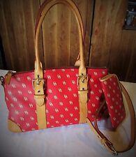 DOONEY & BOURKE red signature Handbag Coated Canvas w/leather EYE bonus EUC