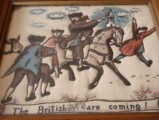 VINTAGE Quilted Wall Art 'The British Are Coming!' - Puffy Needlepoint - Framed