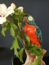 """Antique Majolica Style Parrot (Macaw) Flower Frog, 7"""""""