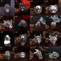 Men Fashion Stainless Steel Punk Cool Gothic Rock Biker Silver Skull Finger Ring