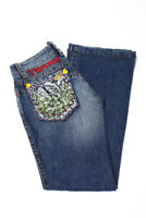Dsquared2 Womens Wide Leg Jeans Blue Embroidered Size Italian 38