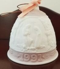 Lladro 1991 Nativity Bell Christmas Ornament~Bisque & Pink Porcelain~Spain
