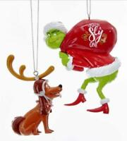 DR SEUSS THE GRINCH AND MAX CHRISTMAS ORNAMENT SET OF 2 NEW WITH TAGS new