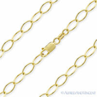 5.4mm Oval Cable Link Italian Chain Necklace 925 Sterling Silver 14k Yellow Gold