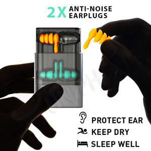 2 Pairs Noise Cancelling Reduction Ear Plugs Sleeping Hearing Protection Earplug
