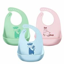 SANSEA Baby meal Apron Silicon (3-piece set)  (Pink / Green / Blue)