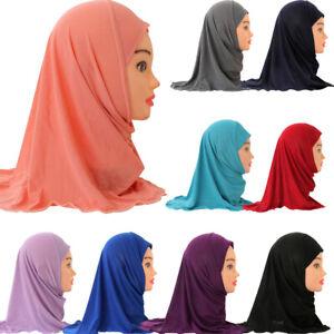 Kids Amira One Piece Hijab Girls Headscarf Muslim Pull On Ready Prayer Scarf Cap