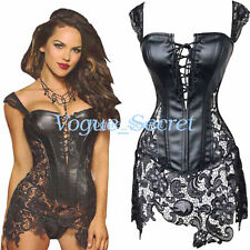 Sexy New Womens Gothic Corsets Bustier Faux Leather Corset Lace Dress Plus Size