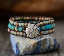 Agate Turquoise Natural Stone Bracelet Beaded Triple Unique Leather Wrap Silver