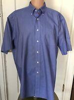 L L Bean Shirt Mens Size 17.5 Blue 17 1/2 Short Sleeve Oxford Cotton
