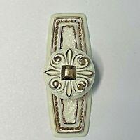 Lot of 13 Vintage Amerock Bonaventure Knobs & Backplates T-274 White Gold Pulls