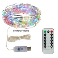 5M 50 LED Fairy String Light USB Operated 8 Modes Waterproof W/ Remote 4 Colors