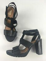 WOMENS CLARKS ARTISAN PERFORATED LEATHER STRAPPY HIGH BLOCK HEEL SHOES UK 4D