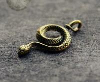 Lovely Chinese old brass hand cast snake statue Pendant Netsuke noble gift