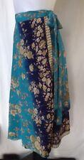 Blue Silk Blend Boho Wrap Skirt Size M/12 NEW