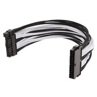 ATX 24-Pin Male to Female Power Supply Converter Cable 30cm Black & White