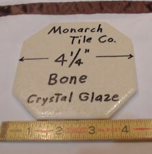 "1 pc. *Bone* Octogon Ceramic Tile  4-1/4"" Crystal Glazed by Monarch Co.  NOS"