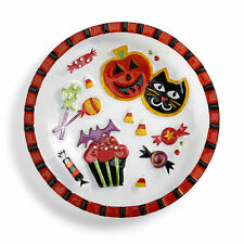"""Glass Large Halloween Treats Bowl 15"""" Round Glass Fusion Collection Trick Treats"""