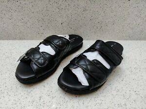 NEW NEXT UK 7 41 Forever Comfort Black Sandals Chunky Quilted Rope Summer Shoes