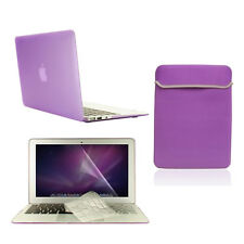 """4 in1 Rubberized PURPLE Case for Macbook Air 11"""" + Key Cover + LCD Screen+ Bag"""