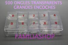 500 FAUX ONGLES TRANSPARENT CAPSULES MANUCURE A GRANDE ENCOCHE + BOITE