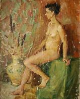 Russian Ukrainian Soviet Oil Painting Impressionism Nude