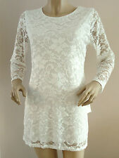 NEW LADIES CREAM GOSSIP LONG SLEEVED LINED LACE DRESS SIZE 16