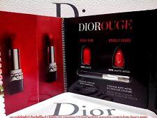 DIOROUGE Dior Rouge Lipstick Card 999 MATTE & 999 METAL ◆2 Shades & Mini Brush ◆
