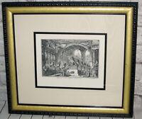 Vtg Piranesi F Art Etching Print Ingresso d'un antico ginnasio Ornate Frame Mat